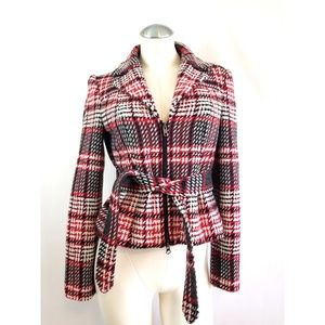 The Limited Size S Red Plaid Belted Jacket
